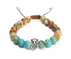 Vintage 8mm Beads Jasper Stone Lion Head Men Women Bracelet