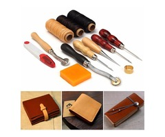 13pcs Wood Handle Leather Craft Tools Kit Leather Hand Sewing Tool Punch Cutter DIY Set
