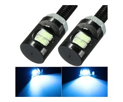 2pcs DC 12V LED License Plate Light Screw Bolt Eagle Eye Lamp For Motorcycle Car Blue