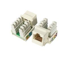10Pcs Keystone Jack Cat5e White 110 Punch Down Network Connector Ethernet 8P8C RJ45 lot
