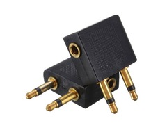 2 PCS 3.5mm to 2 x 3.5mm Airplane Golden Plated Headphone Jack Plug Adapter Audio Connector