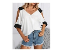 Contrast Color V Neck Cold Shoulder T-Shirt