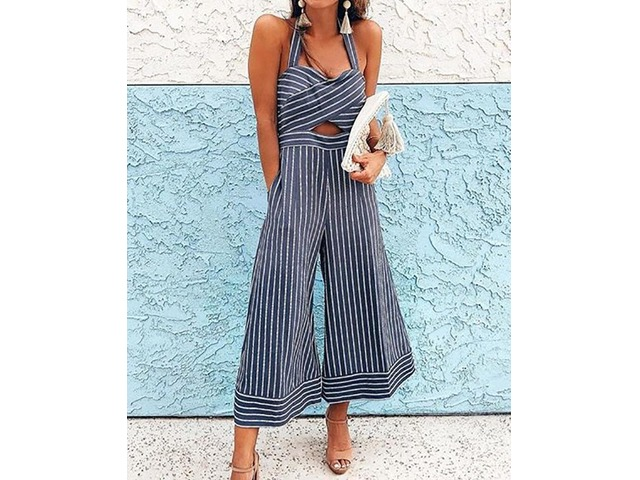 Pinstriped Halter Cross Over Wide Leg Jumpsuit | free-classifieds.co.uk