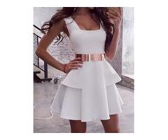 White Sleeveless Layered Pleated Mini Dress