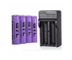 4Pcs GTL 3.7V 2300mAh 14500 Rechargeable Li-ion Battery +14500 Charger