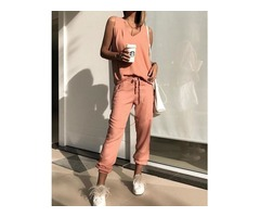Solid V-Neck Tank Top With Drawstring Pants Sets