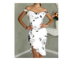 Floral Print Cold Shoulder Ruffles Bodycon Dress