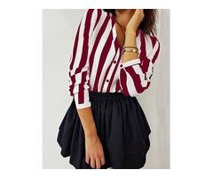 Stripes Button Up Long Sleeve Blouse