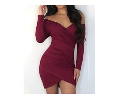 Off Shoulder Scrunched Overlap Bodycon Dress