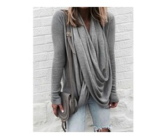 Fashion Solid Twisted Drape Front Top