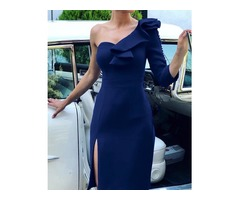 One Sleeve Ruffles Decorated Slit Side Party Dress