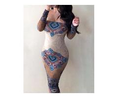 Ethnic Print Off Shoulder Long Sleeve Bodycon Dress