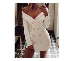 Solid Double-Breasted Irregular Blazer Dress
