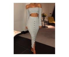 Button Design Off Shoulder Crop Top & Slinky Skirt Sets
