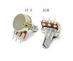 10 Pcs B1M Ohm Linear Taper Rotary Potentiometer Pot 15mm Shaft 3 Pins