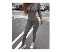 Lace-Up Long Sleeve Hoodie Crop Top & Pants Sets
