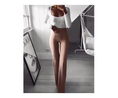 Solid High Waist Bell-Bottom Pants