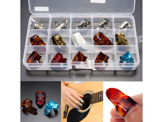 15pcs Multicolor Stainless Steel Celluloid Thumb Finger Guitar Picks With Case | Free-Classifieds.co.uk