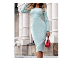 Solid Long Sleeve Zipper Up Back Pencil Dress