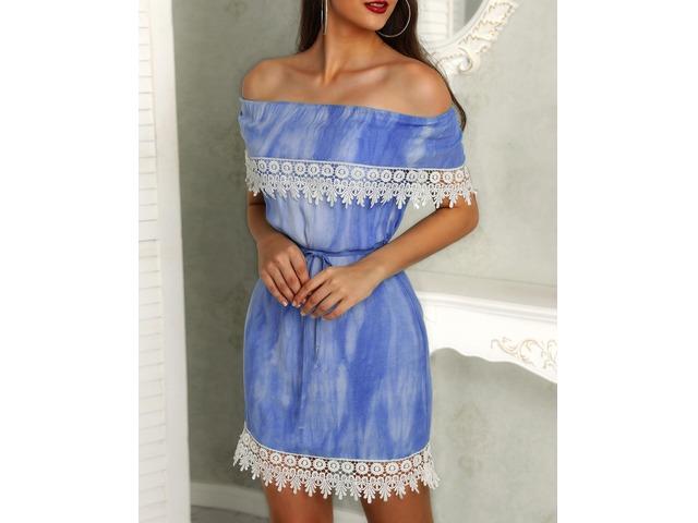 Off Shoulder Crochet Trim Belted Bodycon Dress | Free-Classifieds.co.uk