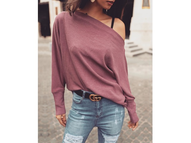 Solid Skew Neck Long Sleeve Casual Top | Free-Classifieds.co.uk