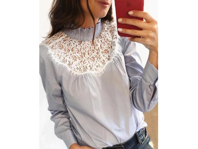 Pinstripes Frill Neck Eyelash Lace Insert Blouse   Free-Classifieds.co.uk