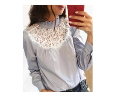 Pinstripes Frill Neck Eyelash Lace Insert Blouse