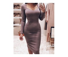 Solid Long Sleeve Bodycon Pencil Dress | Free-Classifieds.co.uk