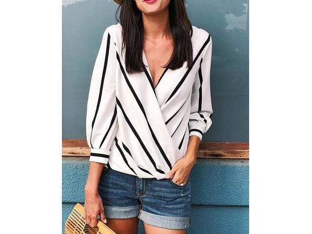 Contrast Stripes Deep V Wrapped Blouses | Free-Classifieds.co.uk