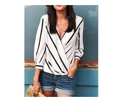 Contrast Stripes Deep V Wrapped Blouses