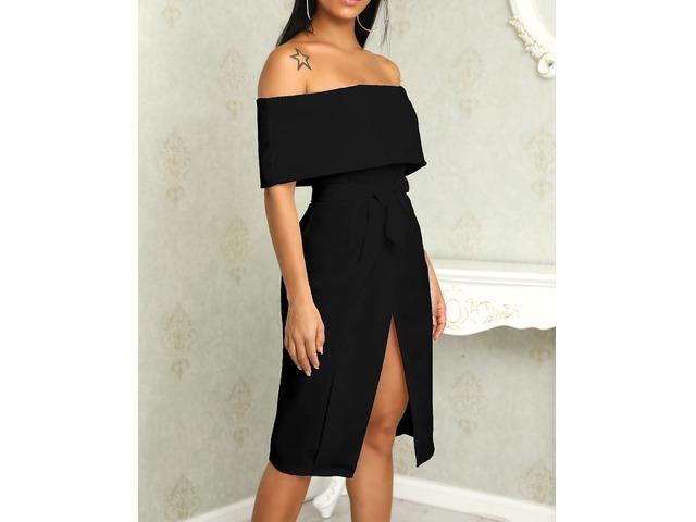 Fold Over Off Shoulder Belted High Slit Dress | Free-Classifieds.co.uk