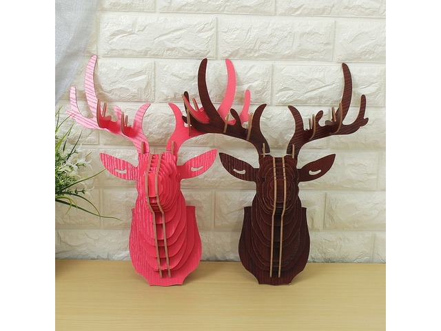 3D Wooden Elk Head Wall Hanging Craft DIY Model Animal Wildlife for Home Decoration | FreeAds.info