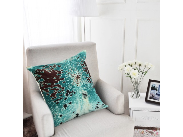 45x45cm Turquoise Cowhide Look Throw Pillow Case Cushion Cover Decorative Pillowcase | FreeAds.info