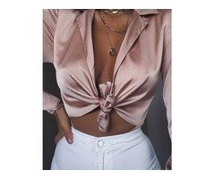 Solid Plunge Knot Long Sleeve Bodysuit