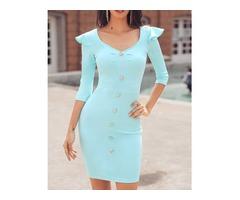 Button Design Ruffles Shoulder Bodycon Dress