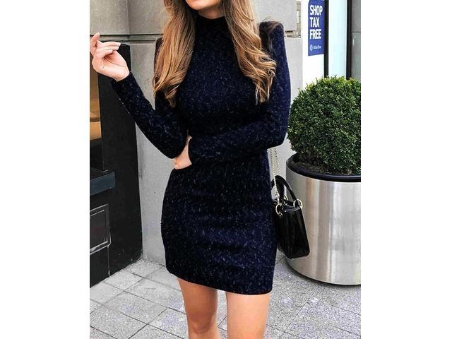 Long Sleeve Mock Neck Slinky Dress | free-classifieds.co.uk