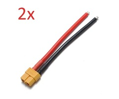 2PCS XT60 Female Plug 12AWG 10cm With Wire