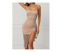 Shiny Strapless Slit Slinky Party Dress