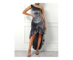 Velvet One Shoulder Layered Ruffles Irregular Party Dress
