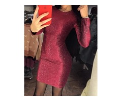 Glitter Long Sleeve Bodycon Party Dress