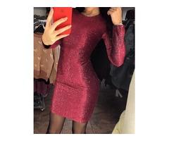 Glitter Long Sleeve Bodycon Party Dress