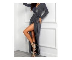 V-Neck Wrap Thigh Slit Sequin Party Dress