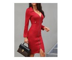 Solid Plunge Zipper Design Bodycon Dress