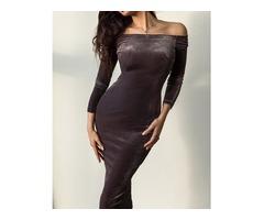 Off Shoulder Long Sleeve Slinky Velvet Dress