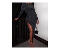 Glitter Long Sleeve Thigh Slit Party Dress