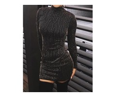 Glitter Stripes Long Sleeve Party Dress