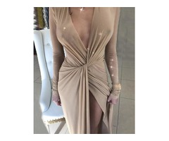 Glitter Twisted Front Slit Party Dress
