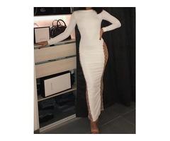 Long Sleeve Glitter Splicing Slit Dress