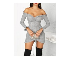 Off Shoulder Frills Drawstring Bodycon Dress