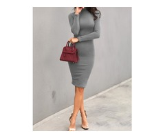 Solid High Neck Long Sleeve Midi Dress